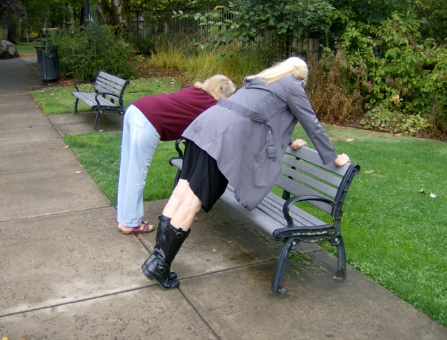 "A bench near a small town library works just fine for a modified push up (#44), which beginners like Jule can tone down by doing the  ""saucy butt push up"" shown here."