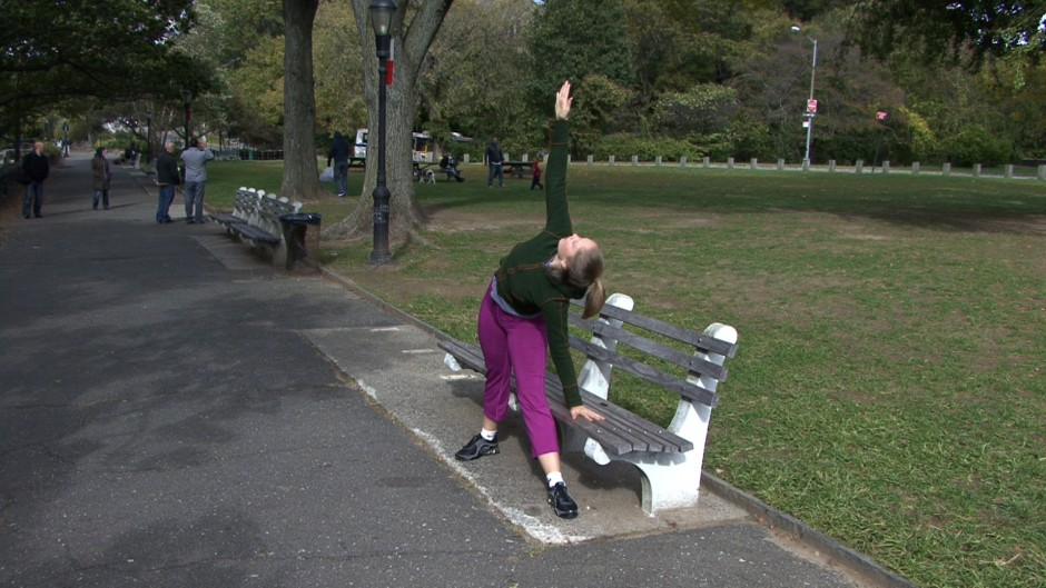 I incorporate the yoga Triangle pose (#87) into my cool-downs. You can use the bench to start, for balance, as shown here.