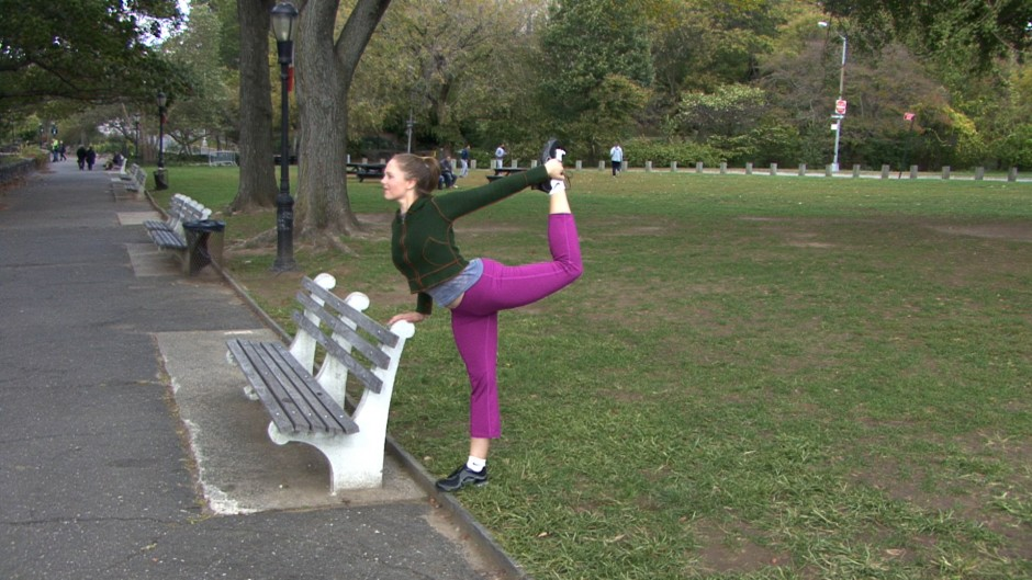 I incorporate the yoga Flamingo pose (#95) into my warm-ups. You can use the bench to start for balance, as shown here.
