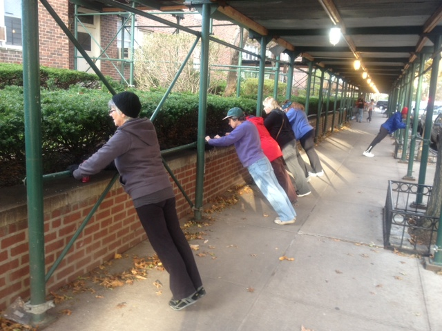 When Storm Sandy closed our parks, we took it to the streets. Building scaffolding is a great place for a modified push up.