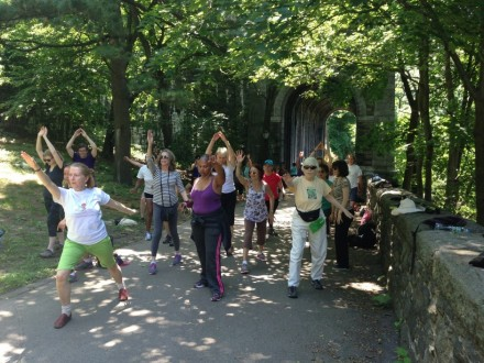 Dance stretches in Fort Tryon Park, courtesy of  Martha Eddy & Moving for Life